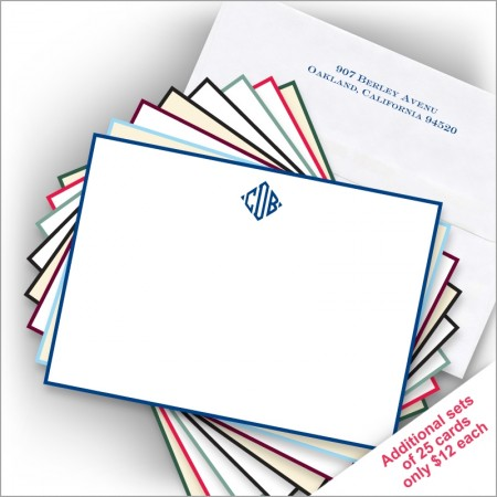 DYO Hand Bordered Correspondence Cards - with Monogram