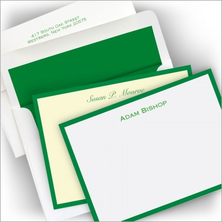 Kelly Green Wide Bordered Correspondence Cards