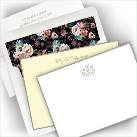 Taupe Hand Bordered Correspondence Cards