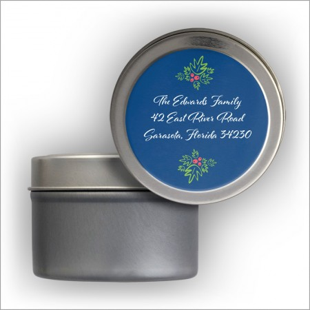 Holly & Berries Address Labels Tin