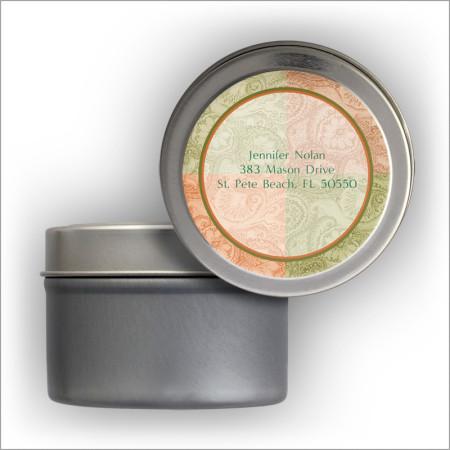 Muted Paisley Return Address Labels Tin