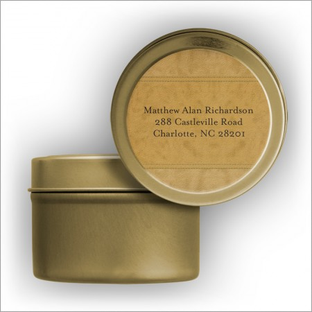 Suede Return Address Labels Tin