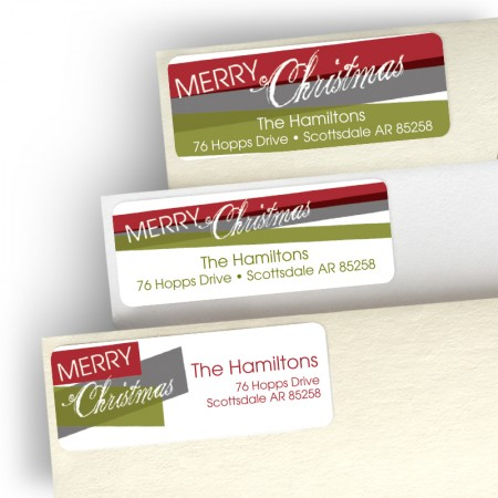 Merry Christmas Stripes Address Label