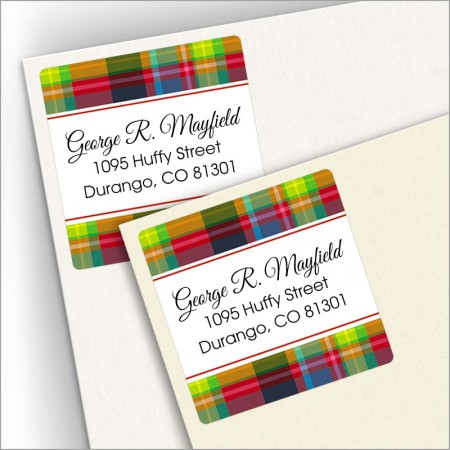Plaid Red Square Address Labels