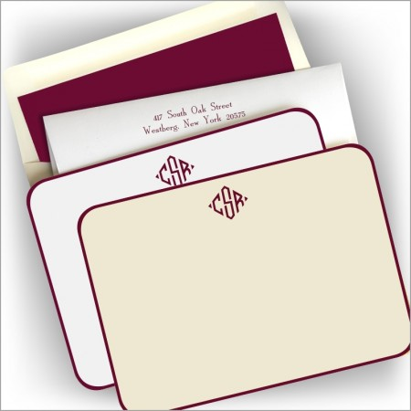 Wine Rounded Hand Bordered Correspondence Cards - Monogram