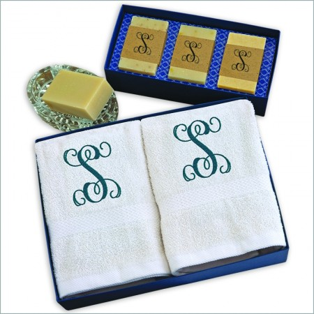 Personalized Hand Towels And Soap Trio Gift Set