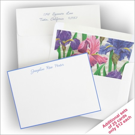 Periwinkle Hand Bordered Correspondence Cards