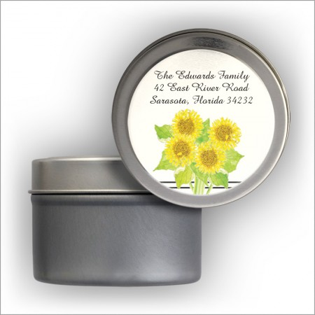 Sunflowers Labels Tin