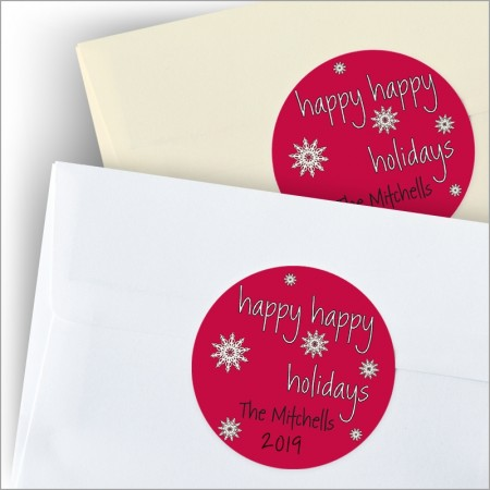 Happy Happy Holidays Round Sticker