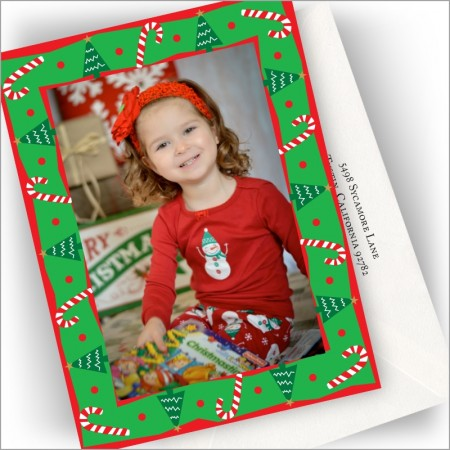 Candy Canes & Trees Photo Cards - Vertical