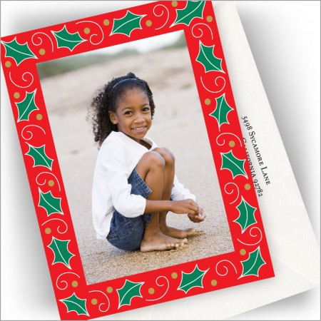 Holly Border Photo Cards - Vertical
