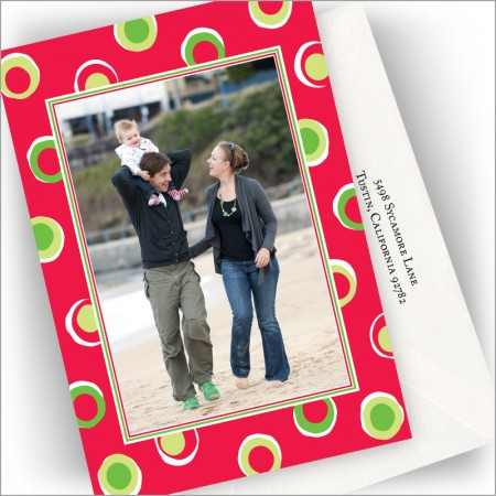 Christmas Chunky Dots Photo Cards - Vertical