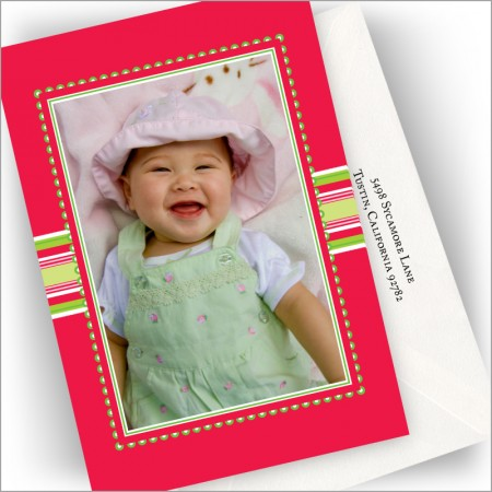 Red Ribbon Photo Cards - Vertical
