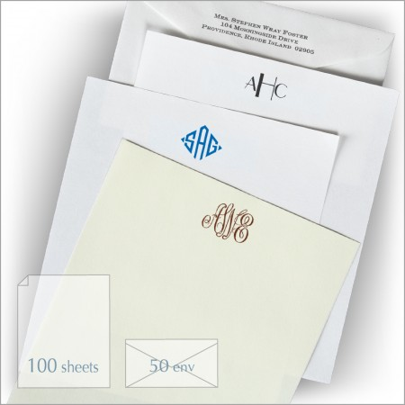 Best Value! Our Standard Box - Qty 100 Shts 50 Env. - Monogram
