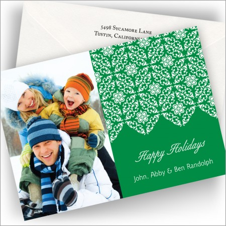 Christmas Green Damask Photo Cards