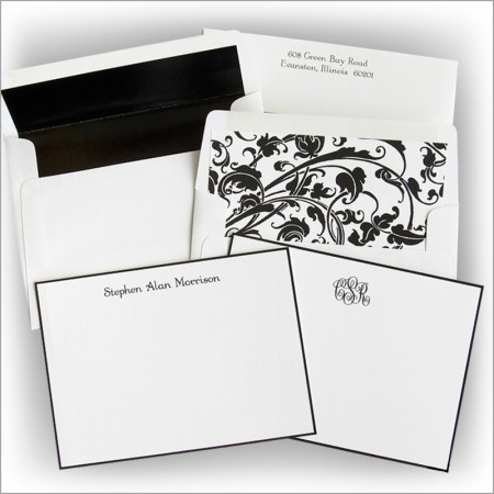 Classic Black Hand Bordered Correspondence Cards