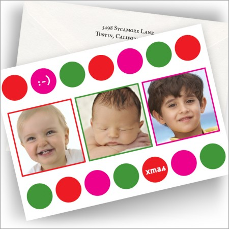 Colorful Dot Frame Photo Cards