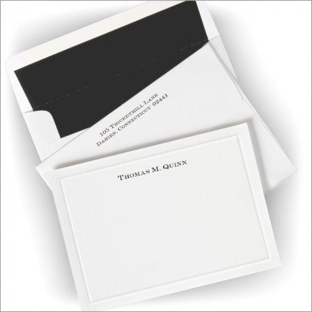 Embossed Border Correspondence Cards - Name Option