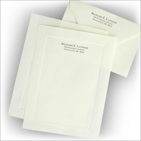 Embossed Border Stationery - Monarch