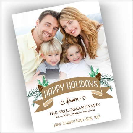 Evergreen Banner Holiday Photocard - Format 1