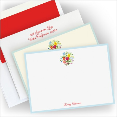 Floral Circle Correspondence Cards
