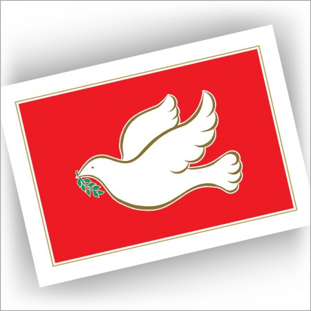 Gold Dove on Red Holiday Cards