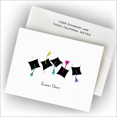 Grad Hats and Hands Fold Notes
