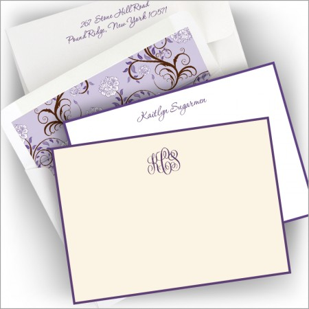 Grape Hand Bordered Correspondence Cards