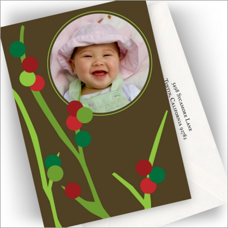 Holiday Berry Tree Photo Cards - Vertical
