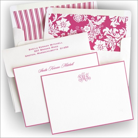 Hot Pink Hand Bordered Correspondence Cards