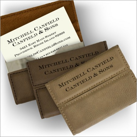 Leather Flip Business Card Holder & Thermograved Business Cards