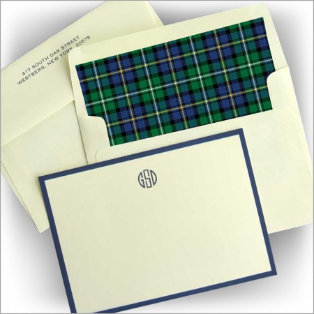 Navy Wide Bordered Correspondence Cards
