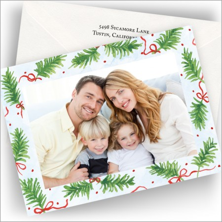 Pine Boughs with Ribbon Photo Cards - Horizontal