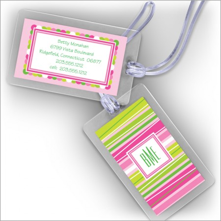 Pink Stripes at a Slant Luggage Tags