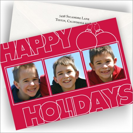 Red Happy Holidays Photo Cards