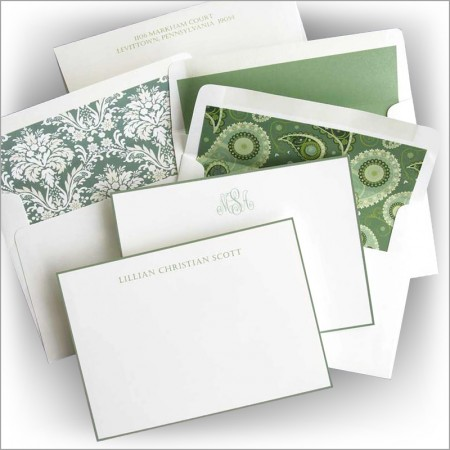 Sage Hand Bordered Correspondence Cards