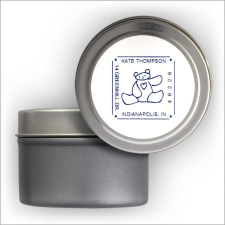 Square Self-Stick Address Labels Tin