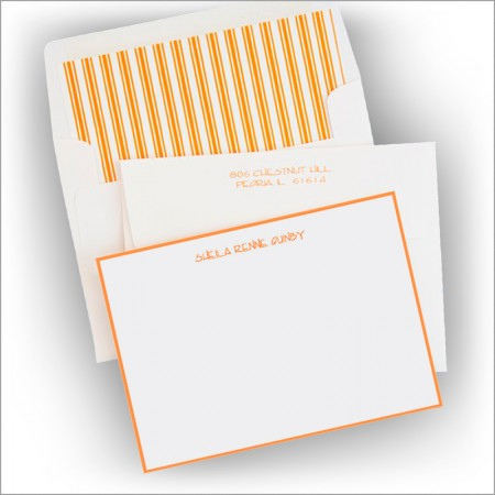 Tangerine Hand Bordered Correspondence Cards