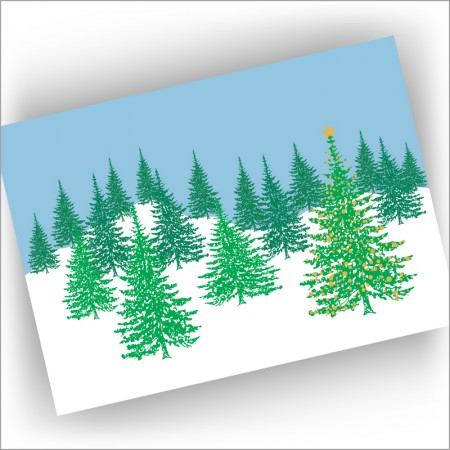 Trees in Snow Holiday Cards