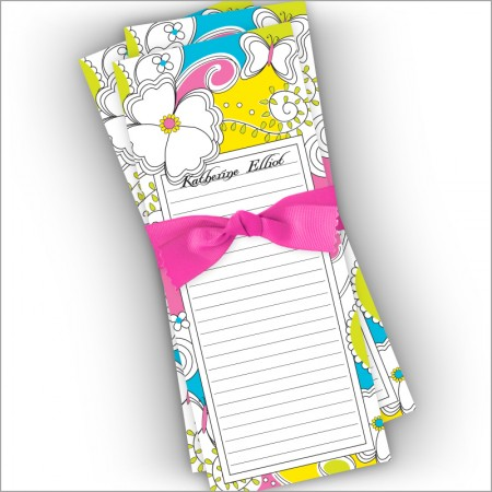 Whimsy Garden Slender Notepads with Ribbon