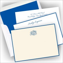 Letterpress Royal Blue Hand Bordered Card