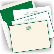 Letterpress Kelly Green Hand Bordered Card