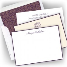 Letterpress Plum Hand Bordered Card