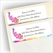 Hippy Rainbow Return Address Labels