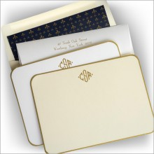 Gold Rounded Hand Bordered Correspondence Cards - Monogram