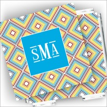 Designer Coasters and Holder - with Monogram - Color Blocks