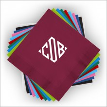 DYO Color Cocktail Napkins - with Monogram - Foil Stamped