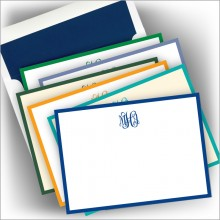 DYO Wide Hand Bordered Correspondence Cards with Monogram