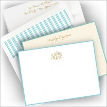 Foil Stamped Aqua Bordered Correspondence Cards