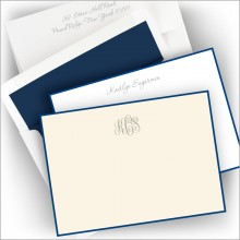 Foil Stamped Navy Bordered Correspondence Cards